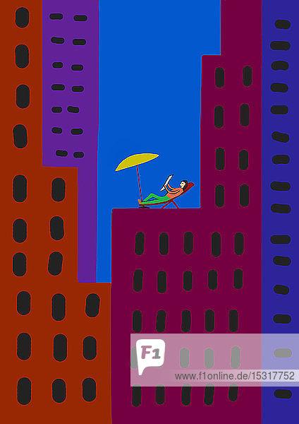 Kinderzeichnung einer entspannten Person im Liegestuhl inmitten bunter Wolkenkratzer in der Stadt