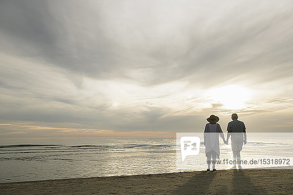 Back view of senior couple standing hand in hand on the beach watching sunset  Liepaja  Latvia