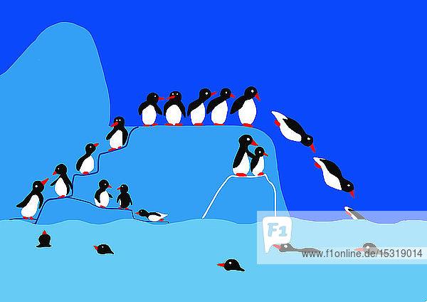 Kinderzeichnung von Pinguinen auf Eisberg  die ins Wasser springen