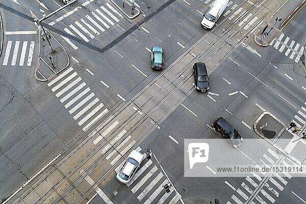 Kreuzung von oben gesehen  Prag  Tschechische Republik
