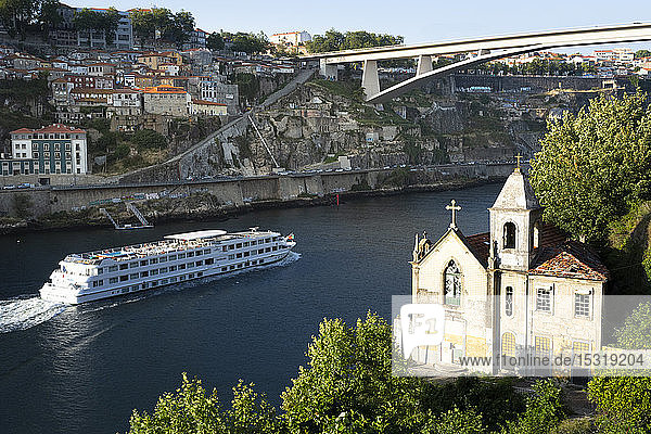 View from Gaia to Douro river with cruise ship  Porto  Portugal