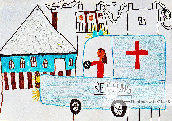 Kinderzeichnung einer Rettungsaktion
