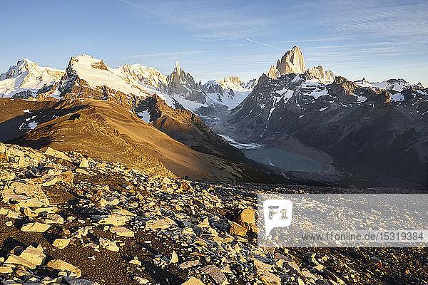 Fitz Roy and Cerro Torre mountains  Los Glaciares National Park  Patagonia  Argentina