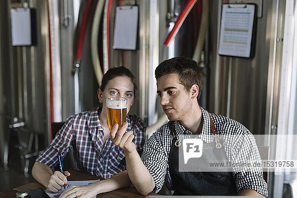 Jungunternehmer  die in einer Brauerei arbeiten und Bier testen