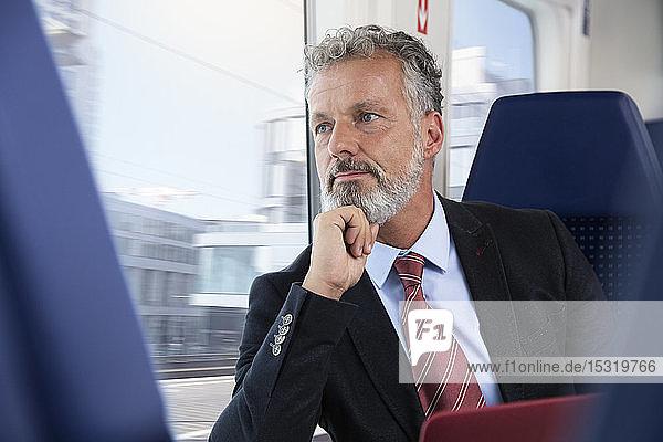 Älterer Geschäftsmann reist mit dem Zug