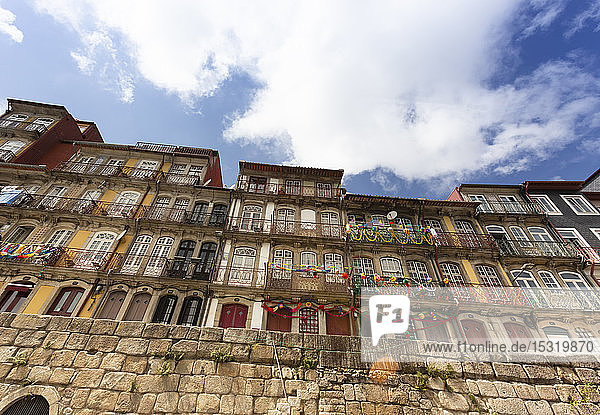 Row of houses decorated during Festas de Sao Joao  Porto  Portugal