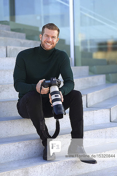 Professional photographer outside
