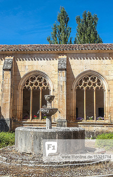 Spain  Autonomous community of Castile and Leon  province of Burgos  historical village of Covarrubias  cloister of the Collegiate church of Saint Cosme and Saint Damian (16th century) (Saint James way)