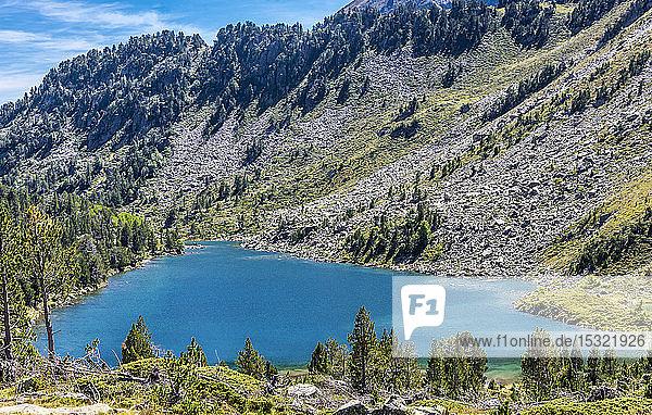 France  Hautes-Pyrenees  Haute Vallee d'Aure  Neouvielle National Nature Reserve  the Lac des Laquettes