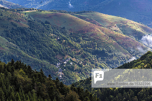 France  Hautes-Pyrenees  col de la Hourquette d'Ancizan (1564 meters high)  between the Vallee d'Aure and the Vallee de Campan  view on the Hameau de Barrancoueu