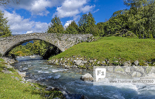 France  Occitanie  Pyrenees National Park  Val d'Azun  old stone bridge on the Azun gave (name referring to torrential rivers  in the west side of the Pyrenees)