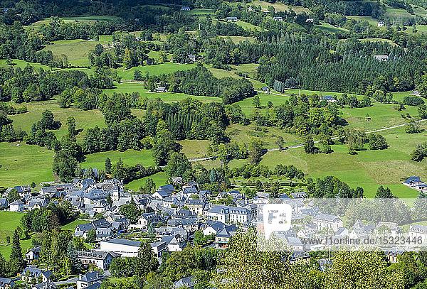 France  Occitanie  Pyrenees National Park  Val d'Azun  overview of Arrens-Marsous