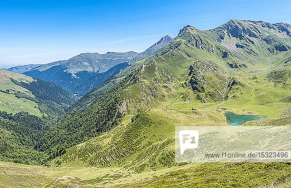 France  Pyrenees National Park  Hautes-Pyrenees  Hautacam mountain  heart-shaped lake of Ourmec