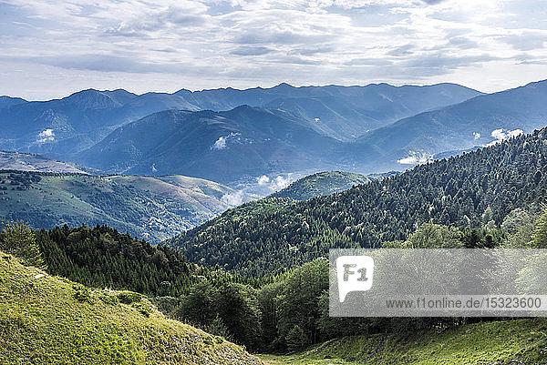 France  Hautes-Pyrenees  col de la Hourquette d'Ancizan (1564 meters high)  between the Vallee d'Aure and the Vallee de Campan  view on the Aure Vallee