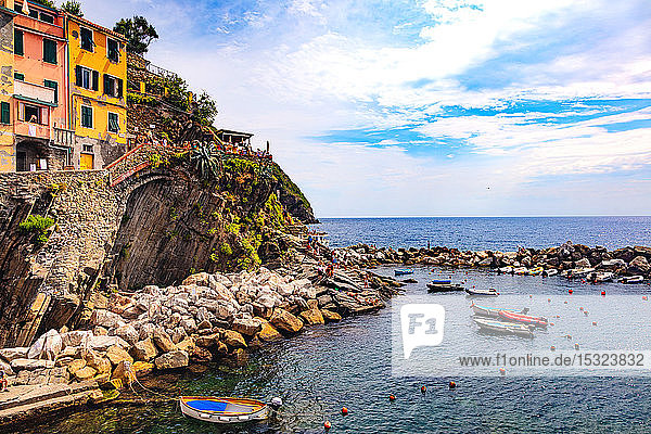 Riomaggiore  Cinque Terre  Liguria  Italy - 09 August 2018 - view of the colorful houses and the harbor