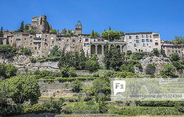 France  Drome  Regional park of Baronnies provencales  medieval perched village of Montbrun-les-Bains (Plus Beau Village de France - Most Beautiful Village of France)