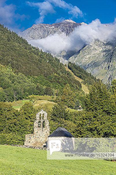 France  Hautes-Pyrenees  Vallee d'Aurec  Aragnouet Le Plan  Notre Dame de l'Assomption chapel also known as Chapelle des Templiers (Chapelle des Hospitaliers de Jerusalem) (12th-13th century) Saint James way (UNESCO World Heritage)