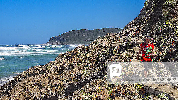 South Africa  Garden Route  trail by the Indian Ocean  Plettenberg (MODEL RELEASE)