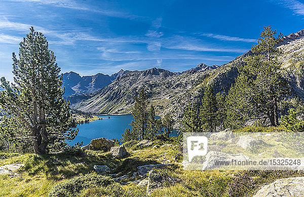 France  Hautes-Pyrenees  Haute Vallee d'Aure  Neouvielle National Nature Reserve  the Aubert lake seen from La Hourquette d'Aubert pathway