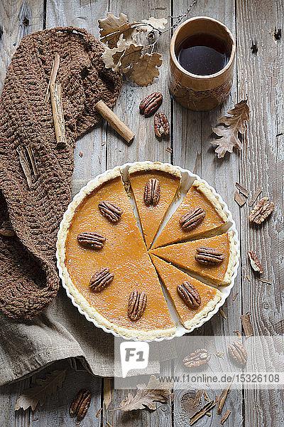 Autumnal pumpkin and pecan pie