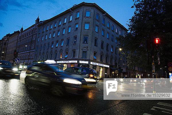 City traffic in Stockholm  Sweden