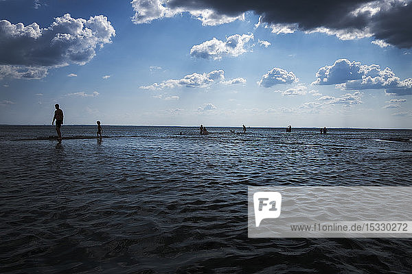 Silhouettes of people walking along sea under cloudy sky