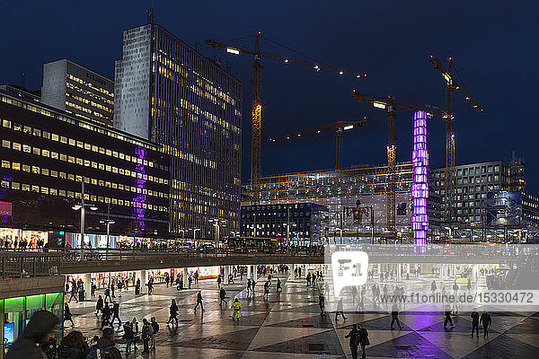 Sergels Torg at night in Stockholm  Sweden