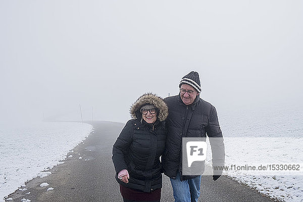 Senior couple on road in snow
