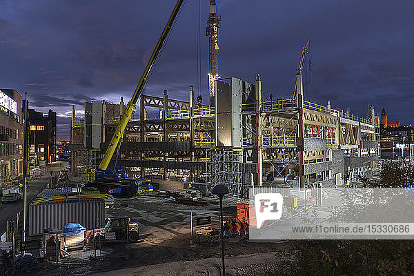 Construction site at night in Gothenburg  Sweden