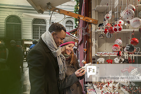 Couple shopping at Christmas Fair