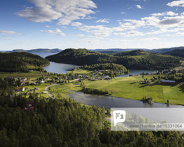 Town by forest and river in High Coast  Sweden