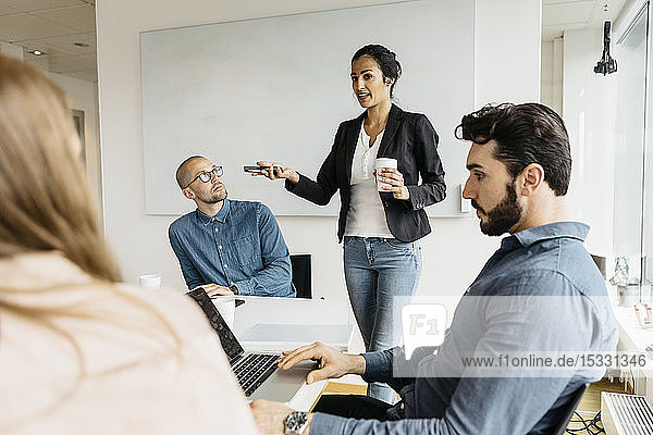 Businesspeople during meeting in conference room