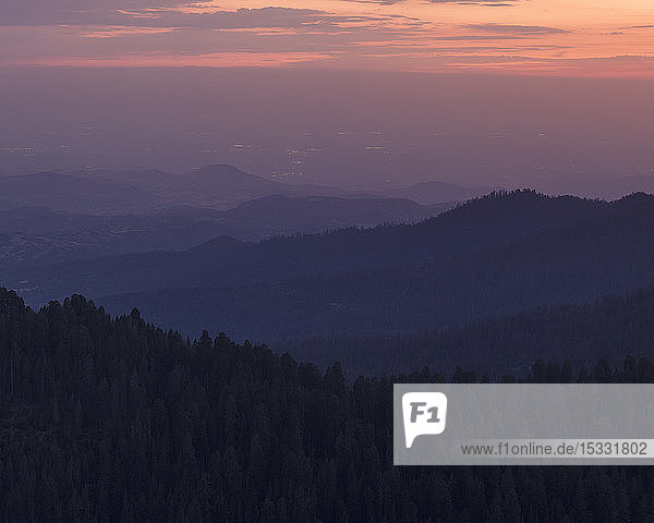 Sequoia National Park at sunset in California