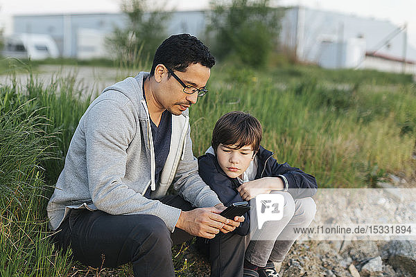 Father and son using a smart phone on grass