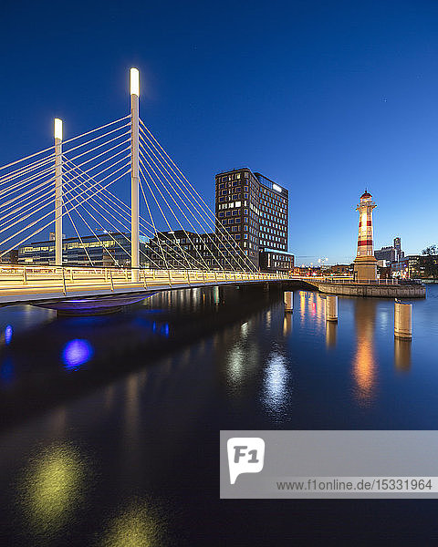 Bridge over river at sunset in Malmo  Sweden