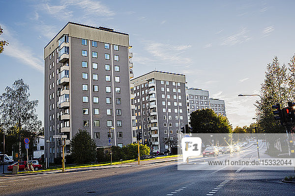 Apartment buildings next to a road in Hasselby  Stockholm