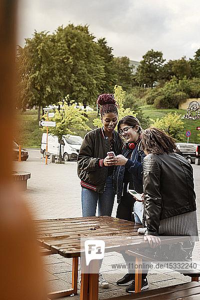 Teenage girls using smart phone in park Teenage girls using smart phone in park