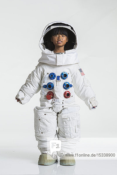 Girl wearing space suit