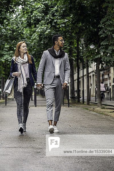 Couple walking on street