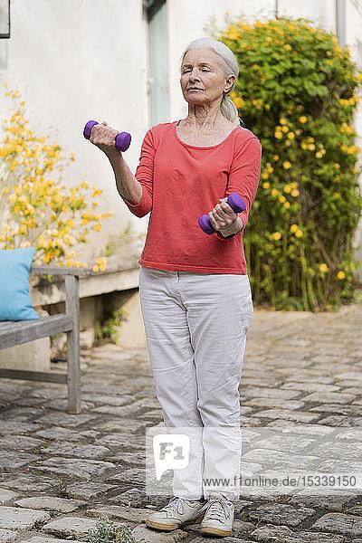 Senior woman doing exercise