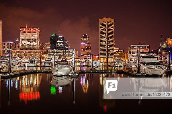 Baltimore Inner Harbour at night