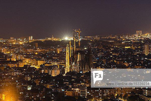 Aerial view of Sagrda Familia with cityscape