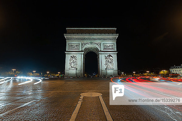 View of Arc de Triomphe at night