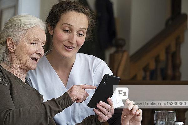 Senior patient using smartphone