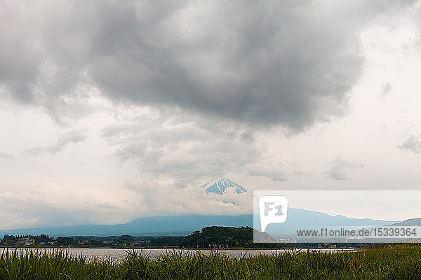 Mount Fuji with storm clouds