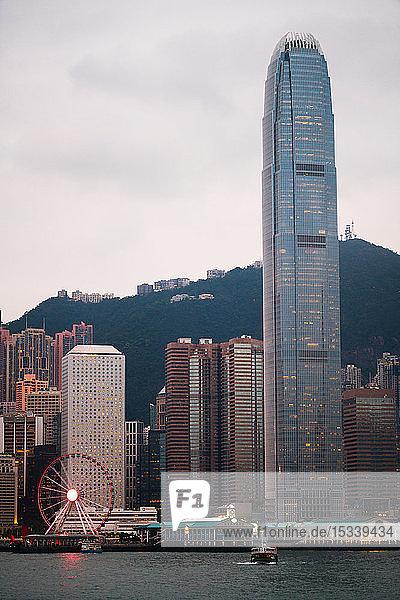 Hong Kong financial district at dusk