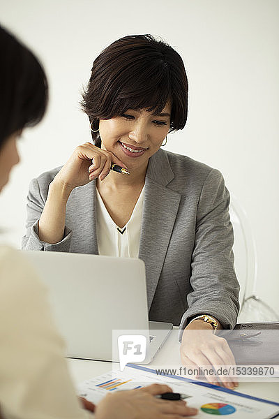 Japanese businesswomen in the office
