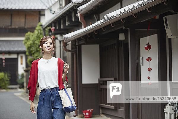 Young Japanese woman visiting Nara