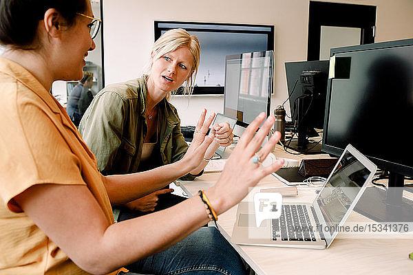 Geschäftsfrauen diskutieren am Laptop  während sie im Büro am Schreibtisch sitzen