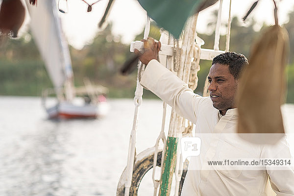 An Egyptian man holiding the mast while sailng a traditional Felucca sailboat with wooden masts and cotton sails on the Nile  Aswan  Egypt  North Africa  Africa